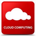 Wolke, die Knopf des roten Quadrats berechnet Lizenzfreie Stockbilder