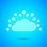 Wolke, die mit Internet-Ikonen rechnet Lizenzfreie Stockfotos