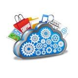 Wolke, die mit vielen Anwendungen rechnet Stockfotos