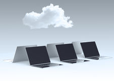 Wolke, die Zeichen 3d auf Laptop-Computer berechnet Stockbilder