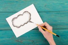 Wolke für einen Text gezeichnet mit Bleistift Lizenzfreies Stockbild