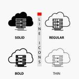 Wolke, Lagerung, Datenverarbeitung, Daten, Fluss Ikone in der dünnen, regelmäßigen, mutigen Linie und in der Glyph-Art Auch im co lizenzfreie abbildung