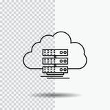 Wolke, Lagerung, rechnend, Daten, Ausflussrohr Ikone auf transparentem Hintergrund Schwarze Ikonenvektorillustration lizenzfreie abbildung