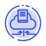 Wolke, Pfeil, Buch, Linie Ikone der Notizbuch-blauen punktierten Linie vektor abbildung