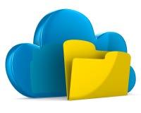 Wolke und Ordner auf weißem Hintergrund Stockbilder