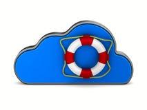 Wolke und Rettungsring auf weißem Hintergrund Lokalisierte Illustration 3d Lizenzfreie Stockfotografie