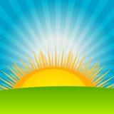 Wolke und sonnige Hintergrundvektorillustration Stockfotos