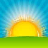 Wolke und sonnige Hintergrundvektorillustration Stockbild