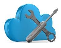 Wolke und Werkzeuge auf weißem Hintergrund Stockfotos