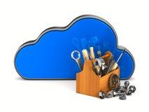 Wolke und Werkzeugkasten auf weißem Hintergrund Lokalisierte Illustration 3d Stockbild