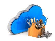 Wolke und Werkzeugkasten auf weißem Hintergrund Lokalisierte Illustration 3d Lizenzfreie Stockfotografie