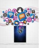 Wolke von Technologie icone erlöschend eine Tablette Lizenzfreie Stockfotografie