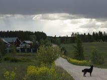 Wolken über dem Dorf Stockfotos