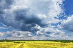 Wolken über dem Feld Lizenzfreie Stockbilder