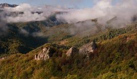 Wolken über dem Gebirgsholz Lizenzfreie Stockfotos