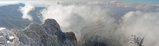 Wolken über dem Sandias Panorama sieben Stockbilder