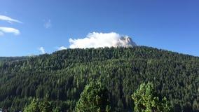 Wolken über der Spitze des Berges mit Wald im Vordergrund stock footage