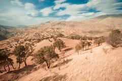 Wolken über Naturlandschaft im Weinleseton Lizenzfreies Stockfoto