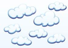 Wolken auf weißem Hintergrund Stockfoto