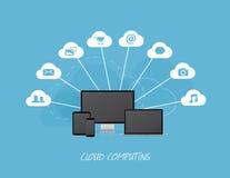 Wolken bedrijfspictogrammen met moderne computers royalty-vrije illustratie