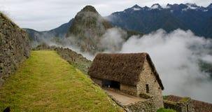 Wolken bij de ingang aan Machu Picchu royalty-vrije stock afbeeldingen