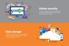 Wolken-Datenverarbeitungsdatenbank-Speicher-Dienstleistungen, on-line-Sicherheits-Daten-Schutz-Netz-Technologie-Fahne lizenzfreie abbildung