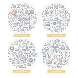 Wolken-Datenverarbeitungsgekritzel-Illustrationen stock abbildung