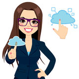 Wolken-Datenverarbeitungsgeschäftsfrau Concept Lizenzfreie Stockfotos