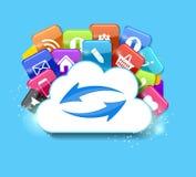 Wolken-Datenverarbeitungskonzept-Vektor-Illustration Lizenzfreie Stockfotografie