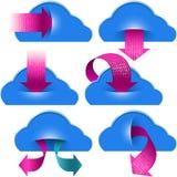 Wolken-Datenverarbeitungsspeicher-Daten-binäres Pfeil-Taschen-Download Lizenzfreie Stockfotografie