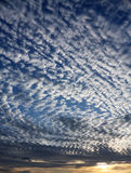 Wolken in de blauwe zonsondergang Stock Foto