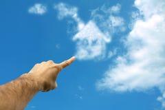 Wolken die huis in hemel vormen Royalty-vrije Stock Foto