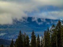Wolken, die im Berg Robson Provincial Park rollen Stockfotografie