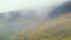 Wolken die over de heuvels van de herfsteifel in Duitsland drijven stock footage