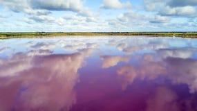 Wolken die in roze meer 01 nadenken stock afbeelding