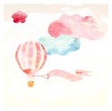 Wolken en ballonroze royalty-vrije illustratie