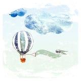 Wolken en blauwe ballon stock illustratie
