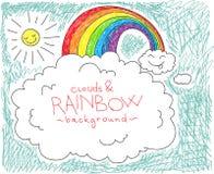 Wolken en regenboogachtergrond Stock Fotografie