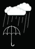 Wolken en regendaling op de paraplu Royalty-vrije Stock Fotografie
