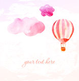 Wolken en roze ballon Royalty-vrije Stock Foto's