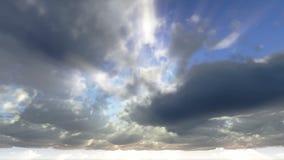 Wolken en van zonstralen animatie stock footage