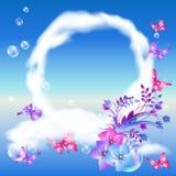 Wolken en vlinders in de hemel vector illustratie