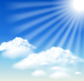 Wolken en zonstralen vector illustratie