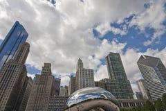 Wolken-Gatter Chicagos im Jahrtausend-Park Lizenzfreie Stockfotos