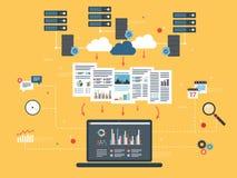 Wolken Gegevens verwerkend, grote gegevensanalyse en voor het exploiteren van gegevens Stock Foto's