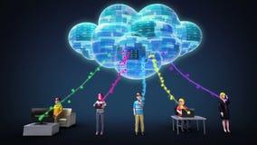 Wolken gegevens verwerkende de dienst verbonden mensen voor het gebruiken van mobiele apparaat en PC vector illustratie