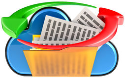 Wolken gegevensverwerking en omloop digitale documenten stock illustratie