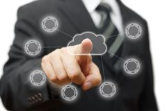 Wolken gegevensverwerking, voorzien van een netwerk en connectiviteit Stock Afbeeldingen
