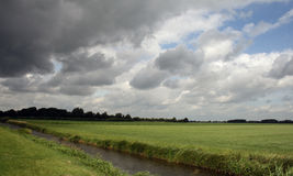 Wolken, gras en sloot Royalty-vrije Stock Foto's