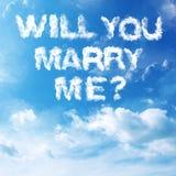 Wolken-Heirat-Antrag Stockbild